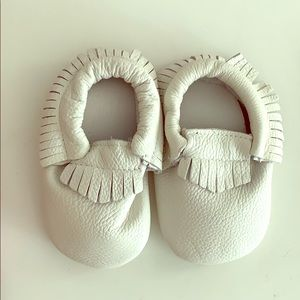 White baby leather moccasins